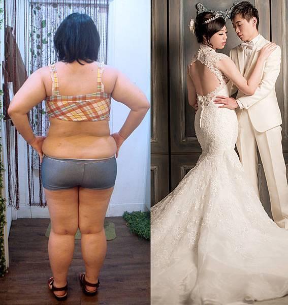 最胖跟婚紗背影