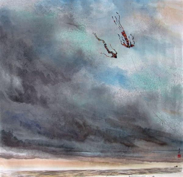 2009桃園縣美術協會會員聯展-展出作品《共舞》.JPG