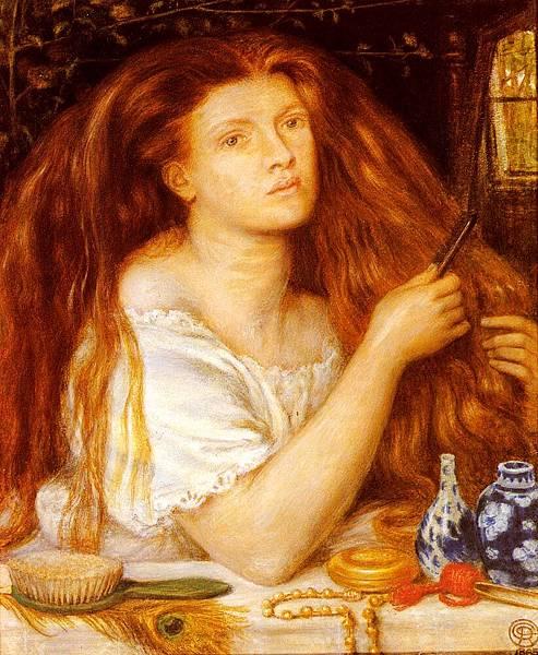 Dante Gabriel Rossetti (1828-1882)-Rossetti_Dante_Gabriel_Woman_Combing_Her_Hair