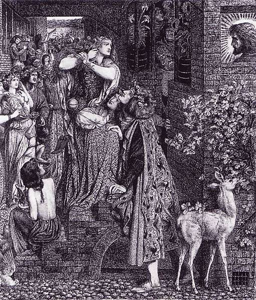 Dante Gabriel Rossetti (1828-1882)-Dante Gabriel Rossetti (1828-1882) Mary Magdalene at the Door of Simon the Pharisee