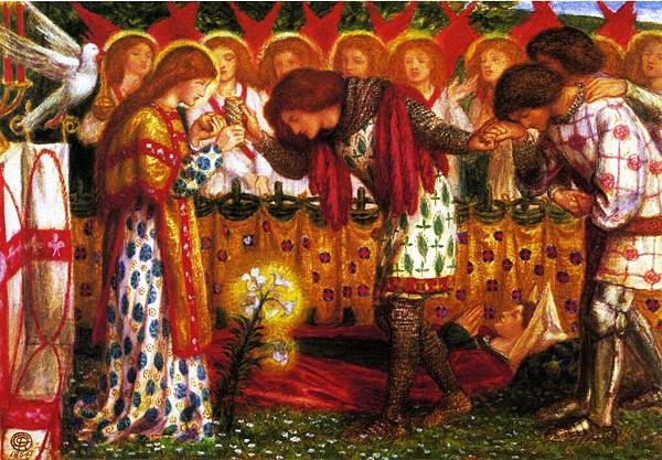 Dante Gabriel Rossetti (1828-1882)-How Sir Galahad, Sir Bors, and Sir Percival were fed with the Sanc Grael; But Sir Percival's Sister Died by the Way