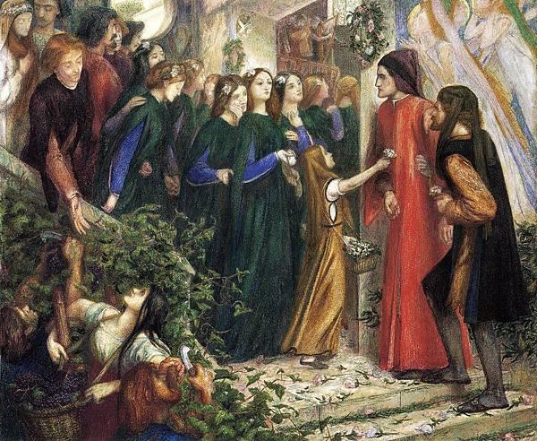 Dante Gabriel Rossetti (1828-1882)-Rossetti_Dante_Gabriel_Beatrice_Meeting_Dante_at_a_Wedding_Feast_Denies_him_her_Salutation