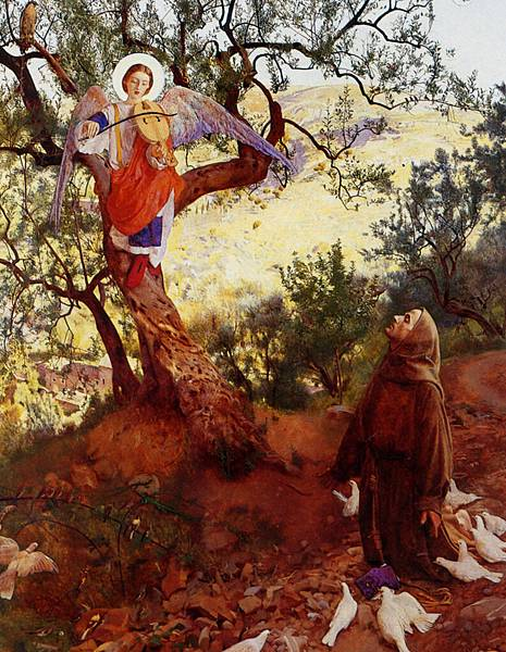 Cowper_Frank_Cadogan_Saint_Francis_of_Assisi_And_The_Heavenly_Melody_Oil_on_Canvas-huge