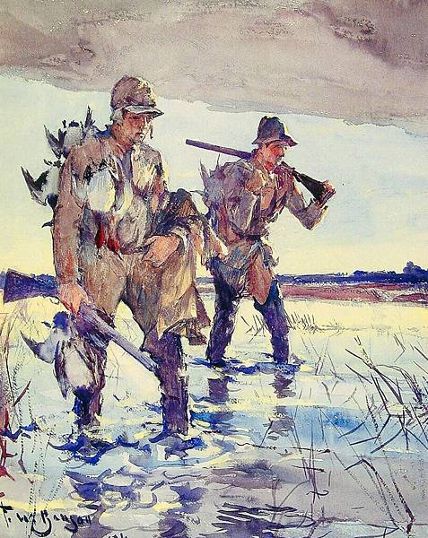 Frank Weston Benson (1862-1951)-Frank Weston Benson (1862-1951)Two_duck_Hunters (1926)