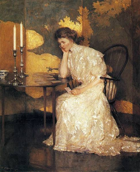 Frank Weston Benson (1862-1951)-Girl Playing Solitaire