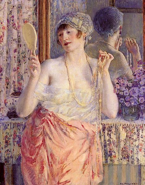Frederick Carl Frieseke (1874-1939) Femme Au Miroir [Woman Before A Mirror]