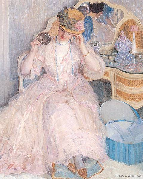 Frederick Carl Frieseke (1874-1939) Lady Trying On a Hat (c.1910)