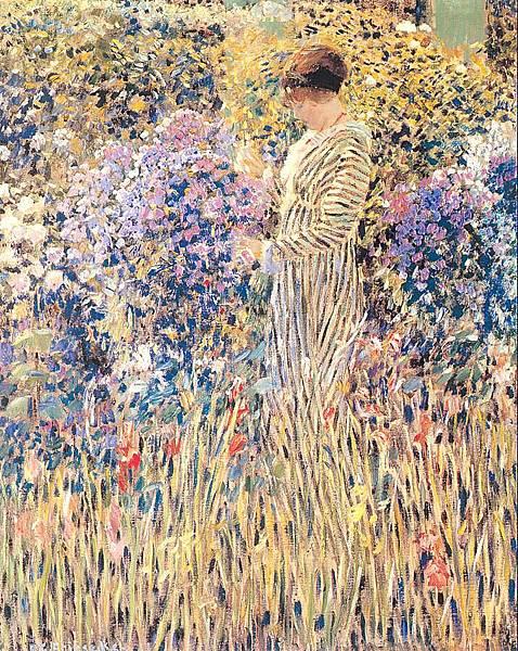 Frederick Carl Frieseke (1874-1939) Lady in a Garden (c.1912)