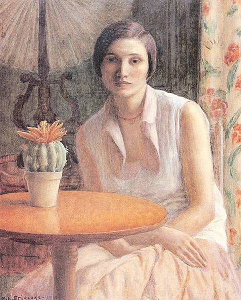 Frederick Carl Frieseke (1874-1939) Portrait of a Woman with a Cactus (1930)
