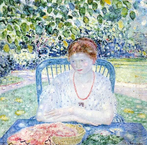 Frederick Carl Frieseke (1874-1939) Sewing in the Garden  (1916)