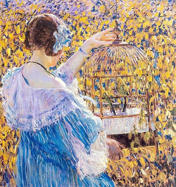 Frederick Carl Frieseke (1874-1939) The Birdcage (c.1910)