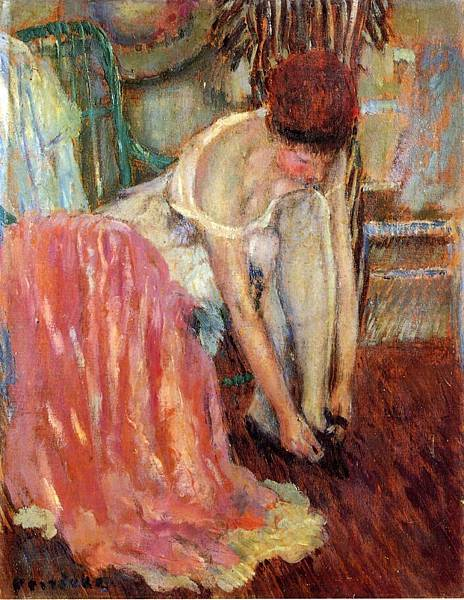 Woman Tying Her Shoe