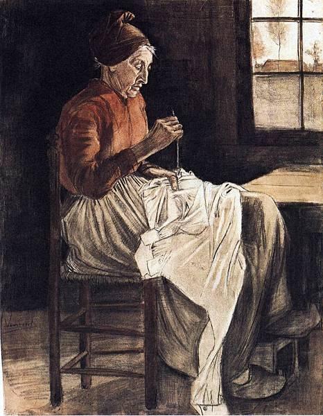 Woman Sewing - (Vincent van Gogh - 1881)