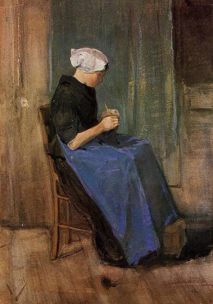 Young Scheveningen Woman Knitting - (Vincent van Gogh - 1881)