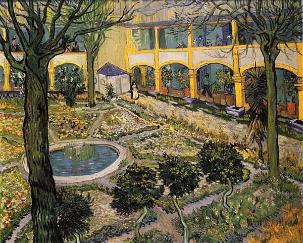 Courtyard of the Hospital in Arles - (Vincent van Gogh - 1889)