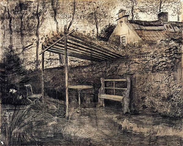 The Garden of the Parsonage with Arbor - (Vincent van Gogh - 1881)