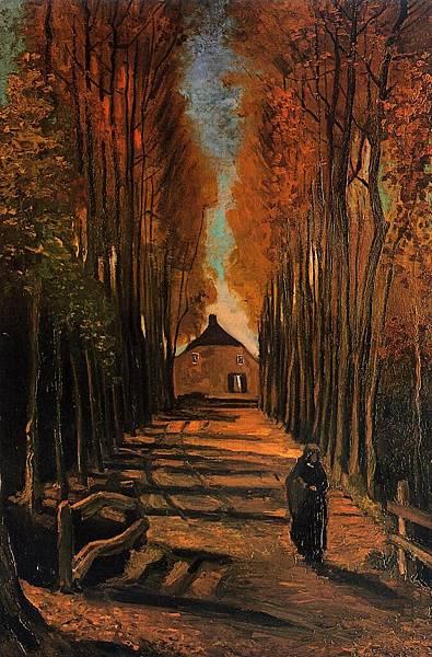 Avenue of Poplars at Sunset - (Vincent van Gogh - 1884)