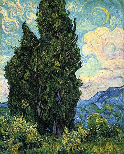 Cypresses - (Vincent van Gogh - 1889)