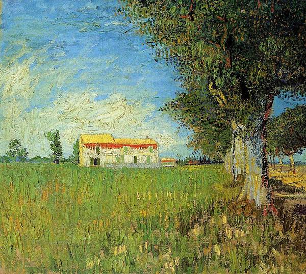 Farmhouse in a Wheat Field - (Vincent van Gogh - 1888)