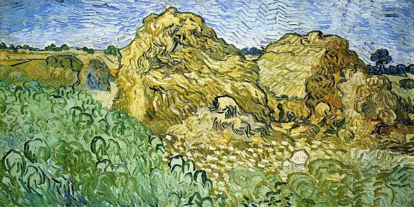Field with Stacks of Wheat - (Vincent van Gogh - 1890)
