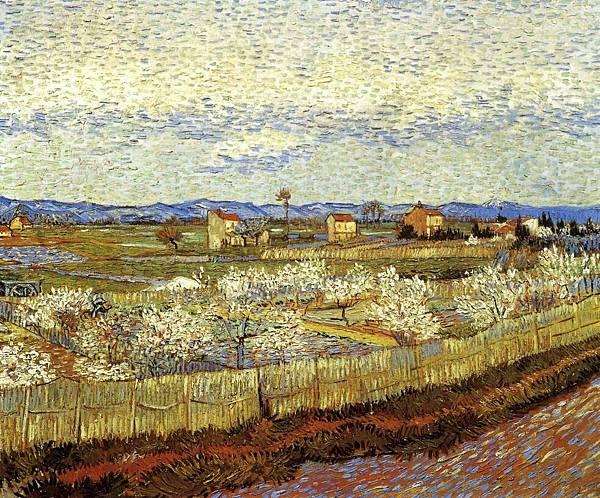 La Crau with Peach Trees in Bloom - (Vincent van Gogh - 1889)
