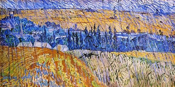 Landscape in the Rain - (Vincent van Gogh - 1890)