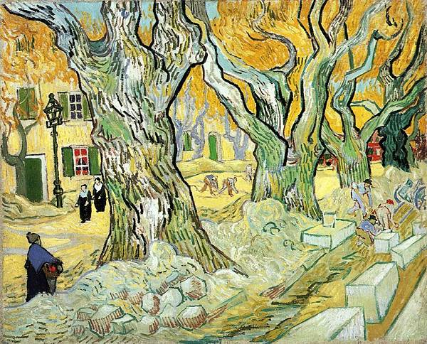 Large Plane Trees aka The Road Menders - (Vincent van Gogh - 1889)
