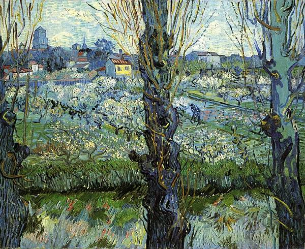 Orchard in Bloom with Poplars - (Vincent van Gogh - 1889)
