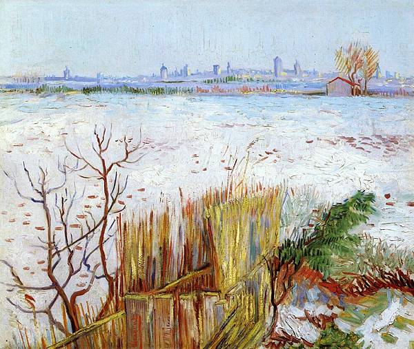 Snowy Landscape with Arles in the Background - (Vincent van Gogh - 1888)