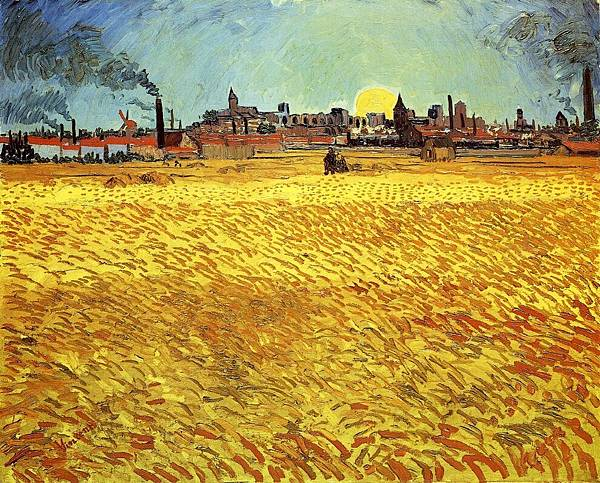 Summer Evening, Wheatfield with Setting sun - (Vincent van Gogh - 1888)