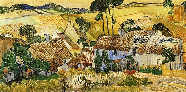 Thatched Houses against a Hill - (Vincent van Gogh - 1890)