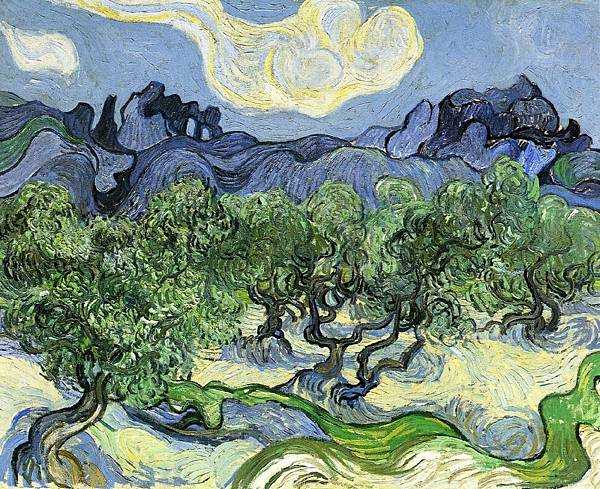 The Alpilles with Olive Trees in the Foreground - (Vincent van Gogh - 1889)