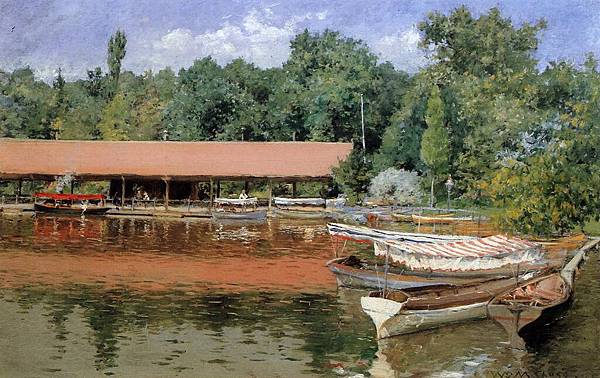 William Merritt Chase (1849-1916)-Boat House, Prospect Park aka Boats on the Lake, Prospect Park - (William Merritt Chase - circa 1887)