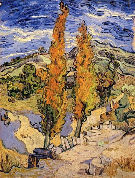 Two Poplars on a Hill - (Vincent van Gogh - 1889)