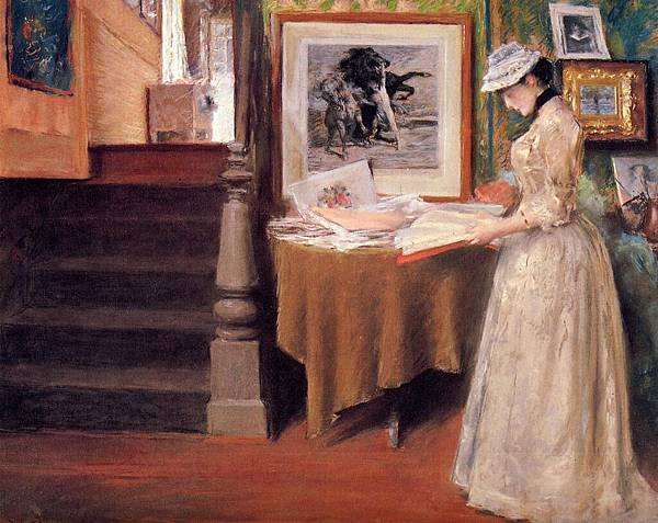 William Merritt Chase (1849-1916)-Chase_William_Merritt_Interior_Young_Woman_at_a_Table