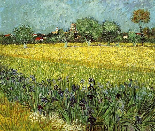 View of Arles with Irises - (Vincent van Gogh - 1888)