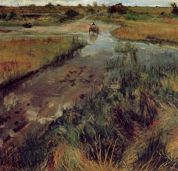 William Merritt Chase (1849-1916)-Chase_William_Merritt_Swollen_Stream_at_Shinnecock_c1895