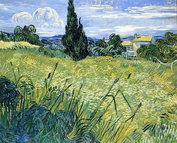 Wheatfield with Cypress - (Vincent van Gogh - 1889) 2