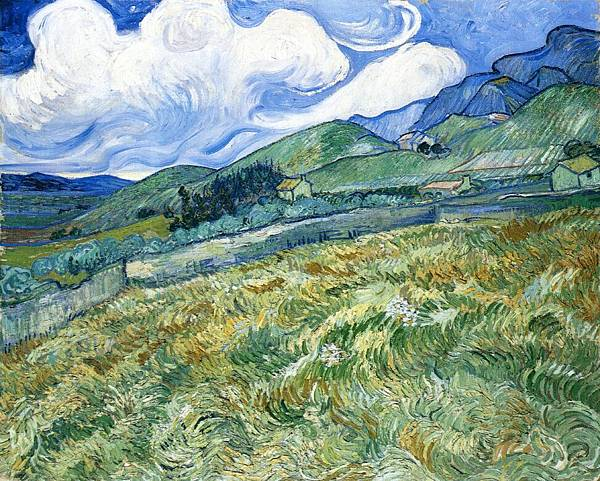 Wheatfield with Mountains in the Background aka Mountain Landscape Seen across the Walls - (Vincent van Gogh - 1889)