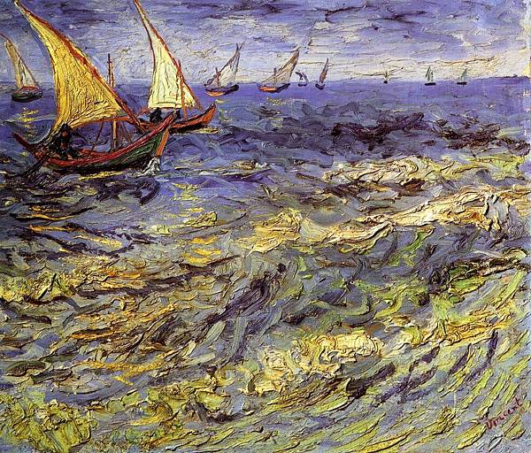 Fishing Boats at Sea aka Seascape at Saintes-Maries - (Vincent van Gogh - 1888)