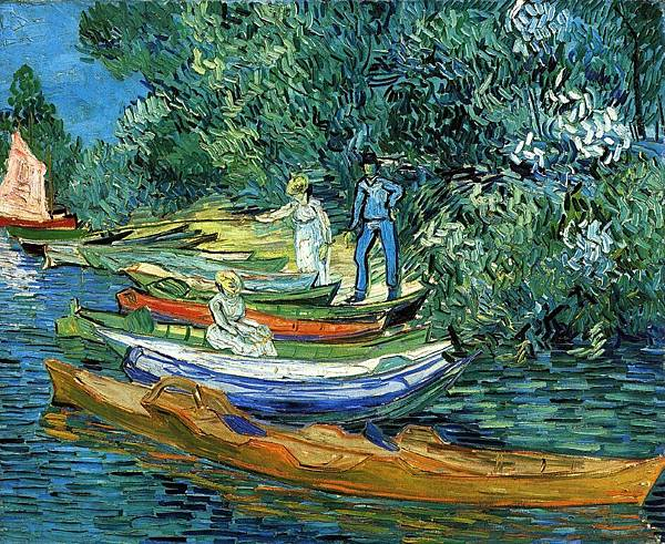 Rowing Boats on the Banks of the Oise - (Vincent van Gogh - 1890)