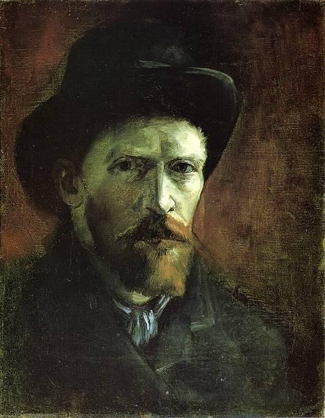 Self Portrait in a Dark Felt Hat - (Vincent van Gogh - 1886)