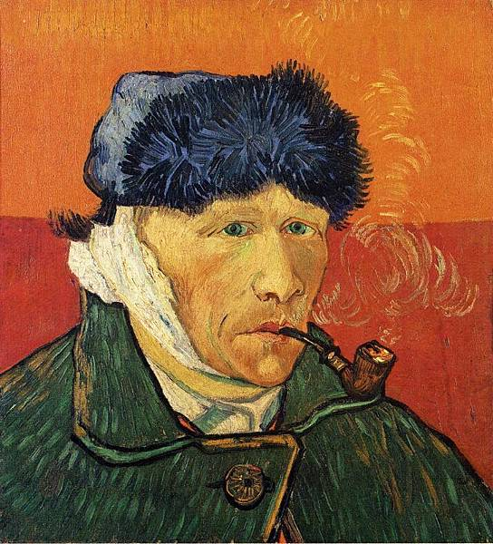 Self Portrait with Bandaged Ear and Pipe - (Vincent van Gogh - 1889)