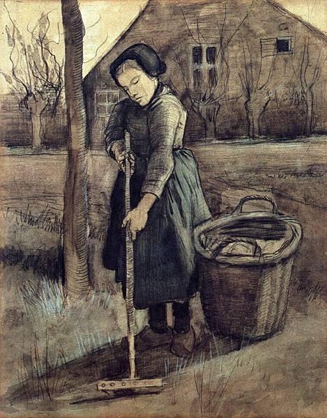 A Girl Raking - (Vincent van Gogh - 1881)