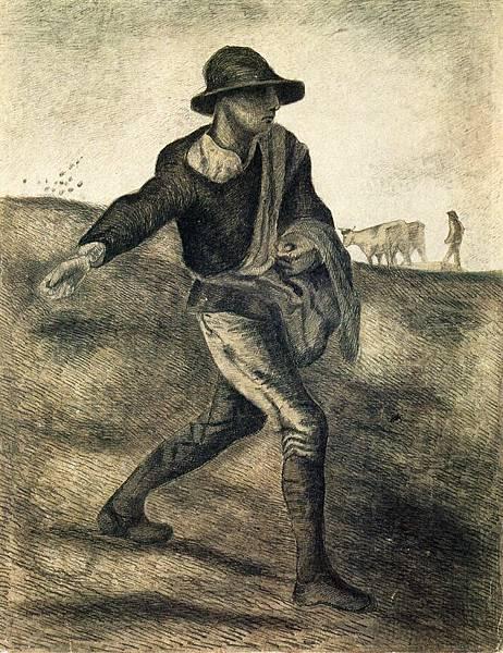 A Sower (after Millet) - (Vincent van Gogh - 1881)