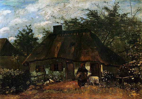 Cottage and Woman with Goat - (Vincent van Gogh - 1885)
