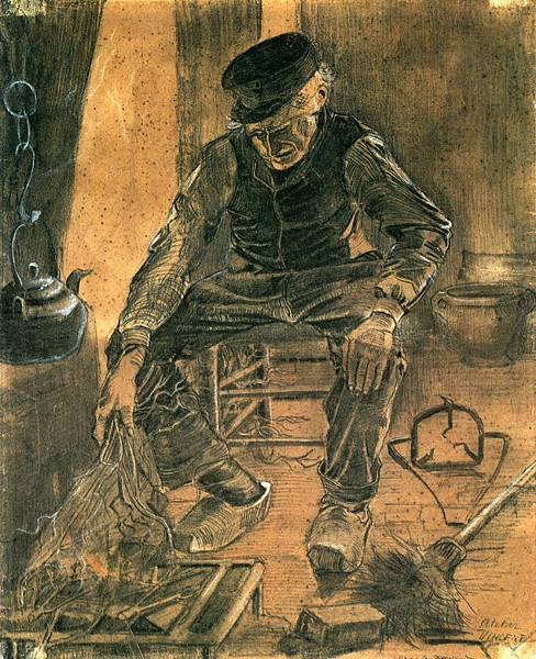 An Old Man Putting Dry Rice on the Hearth - (Vincent van Gogh - 1881)