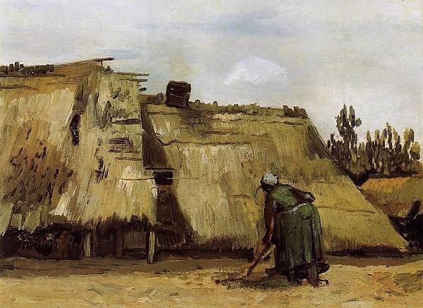 Cottage with Woman Digging - (Vincent van Gogh - 1885)