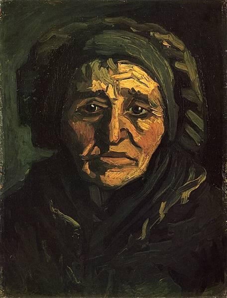 Head of a Peasant Woman with a Greenish Lace Cap - (Vincent van Gogh - 1885)