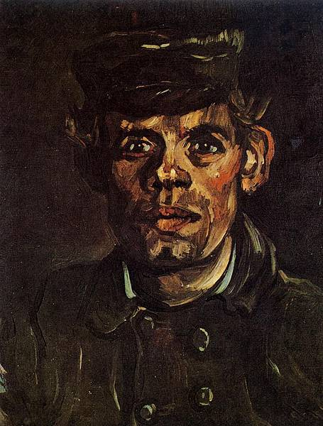 Head of a Young Peasant in a Peaked Cap - (Vincent van Gogh - 1885)